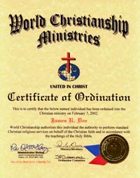ordination certificate be ordained